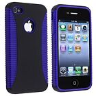 Hybrid Ribbed Case for iPhone 4 / 4S - Purple/Black