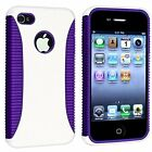 Hybrid Ribbed Case for iPhone 4 / 4S - Purple/White