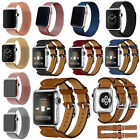 Genuine Leather Milanese Magnetic Loop Watch Band Strap For Apple Watch 2 / 1