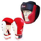 Leather Boxing Gel Gloves & Head Guard Set Training Punching Face Protector Set