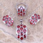Gallant Red Garnet Silver Jewelry Sets Earrings Pendant Ring S0011