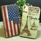 Cute Paris Tower US Flag Wallet Pouch Stander flip case cover for LG Phone
