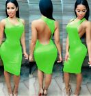 Womens Multi Colored Halter Bodycon Dress