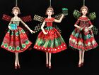 Gisela Graham Festive 50s Resin Fairies Hanging Christmas Red Green