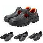 STO Mens Summer Breathable Leather Safety Shoes Steel Toe Work Boots 7-10.5