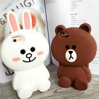 Shockproof 3D Soft Silicone Line Cute Bear Bunny Cony Case For iPhone6 6S 7 Plus