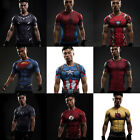 Compression Marvel Superhero Men Short T-shirt Gym Sport Bike Jersey Spiderman