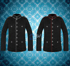 Mens Military Jacket Black Red Goth Steampunk Army Officer Pea Coat Handmade