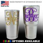 Monogram Split Vine Initial Name Decal for YETI Rambler Tumbler Cup Sticker