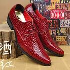 Wedding Men's Snakeskin Leather Dress Formal Business Lace up Pointed Toe Shoes