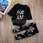 2pcs Toddler Infant Baby Boy Girl Clothes T-shirt +Pants Outfits Set Size 0-24M