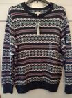 Men Sweater Gray Sonoma Charcoal Green White Red Lines Round Neck NWT 2XL XL L M