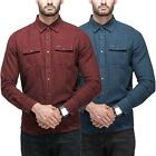 Men Point Zero Plain Shirt 100% Cotton Long Sleeve Casual Smart Top S-XXL RRP 60