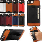 For iPhone 7/7 Together with/8/8 Plus Leather Hand Strap Holder Card Slot Back Case Cover