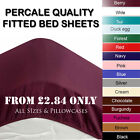 Fitted Sheet Bed Sheets Deep Non Iron Plain Dyed Single Double King S.King Size image