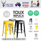 4x Replica Tolix Xavier Bar Stool Metal Steel Kitchen Cafe Home Dining Chair