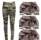 Camouflage Thermo Leggins Röhre Hose Look Army Military Tarn Warm Gefüttert