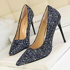 Bling Sequin Pointed Toe Classic Pumps Stiletto High Heel Women Party Club Shoes