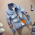 Mens VINTAGE Casual Retro Western Lined Coat Denim Jean Jacket US S M L XL 2XL