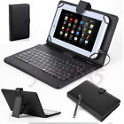 Black PU Leather Stand Case Cover w/ Micro USB Keyboard For 7*-8* Tablet eReader