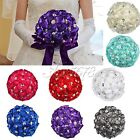 Satin Rose Bridal Bouquet Flower Pearl Rhinestone Ribbon for Wedding Party Decor