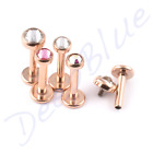 TITANIUM Labret PVD ROSE GOLD with 3mm CLEAR Gem INTERNAL THREAD Lip Tragus Bar
