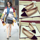 Black Beige Patchwork Pointy Flats Suede Fur Lining Lightweight Balletic Shoes