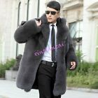 Mens faux Fur Luxury Parka Coat Overcoat Warm Hip Long Warm Thick Outwear S-5XL