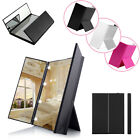 New Cosmetic Mirror Tri-Folding Travel Portable Compact Pocket With 8 LED Lights