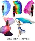 Various colors 33 yd453m114cm 5mm belly dance silk veil+bag edges rolled