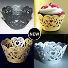 CUPCAKE WRAPPERS SLEEVES HOLDERS PARTY WEDDING CUP CAKE CROWN HEART DECORATION
