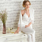 Hot New Women Silk Sleepwear Set Nightwear Robe Pants Pajamas Pyjamas Gown