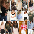Womens Loose Pullover T Shirt Short Sleeve Cotton Tops Shirt Blouse Size 6-16