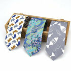 Vintage Men's Skinny Neck Tie Animal Cat Fish Print Cotton 6CM Slim Necktie