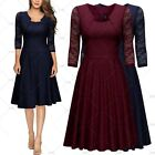 MIUSOL Women Vintage 1940s Cocktail Evening Party Casual Work Slim Pleated Dress
