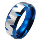 MENDINO 8mm Men's 316L Stainless Steel Ring Band Blue Tone Plated Fcceted Edge