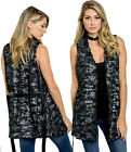 Black Metallic Faux FUR Cozy Open Front belt Sleeveless Layering Cover Up VEST