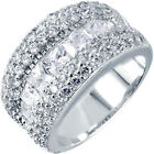 925 Sterling Silver Pave Set Princess Cut Clear CZ Wide Wedding Ring Size 3-11