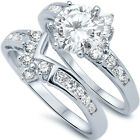 925 Sterling Silver Round Clear CZ Engagement Wedding 2 in 1 Love Ring Size 3-11