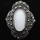 24X16mm White Cat's Eye Stone Marcasite 925 STERLING SILVER RING SIZE 7 8 9 10