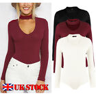 NEW Women's Stretchy Bodycon Bodysuit Choker V Neck Leotard Tops Knitted Jumper