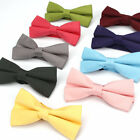 Adjustable Men Women Cotton Bow Ties Solid Plain Wedding Party Butterfly Bowtie
