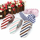 6 Cm Men's Skinny Wedding Ties Linen Cotton Neck Tie Multi-color Striped Necktie