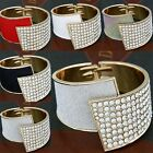 Fashion Jewelry Solid Leather Crystal Wristband Women's Bracelet Bangle Cuff New