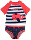 Wippette Baby Girls' Navy Stripes and Swimming Whale Rashguard Set