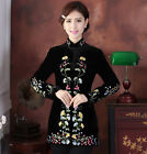 Velour Chinese Traditional Women's Embroider Flower Coats Jackets Outer Wear