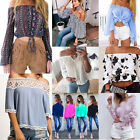 Fashion Women Summer Floral Blouse Off Shoulder Long Sleeve Casual Shirt Top