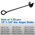 "18"" 3/8"" Steel Auger ScrewIn Ground Anchor Stake Secure Canopy Tent Tarp Carport"