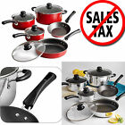 Nonstick 9-Piece Pots And Pans Cookware Set Cooking Kitchen Red or Polished