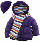 Pink Platinum Little Girls' Puffer Coat with Stripe Scarf and Hat